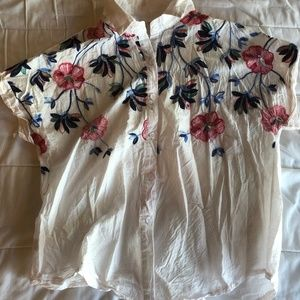 SHEIN Sheer White Button-Down Floral Top
